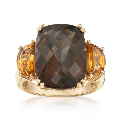 C. 1990 Vintage 9.15 Carat Smoky Quartz and 1.20 ct. t.w. Citrine Ring in 14kt Yellow Gold, , default