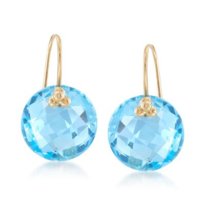 20.00 ct. t.w. Blue Topaz Earrings with 14kt Yellow Gold, , default