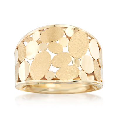Italian 14kt Yellow Gold Laser-Cut Ovals Ring, , default