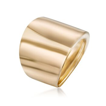 Italian 14kt Yellow Gold Wide Polished Ring, , default