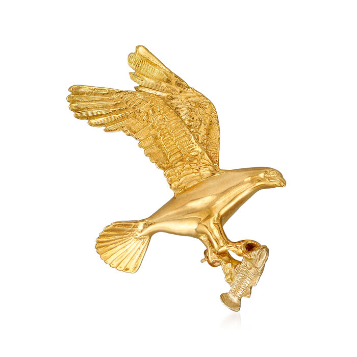 C. 1980 Vintage 14kt Yellow Gold Osprey with Fish Pin, , default