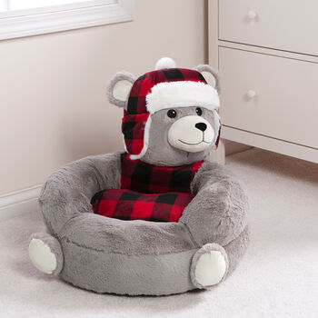 Children's Plush Buffalo Check Bear Chair, , default