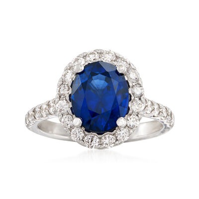 3.40 Carat Oval Sapphire and .85 ct. t.w. Diamond Ring in 14kt White Gold, , default