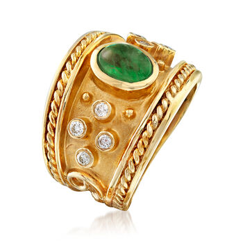 C. 1980 Vintage 1.00 Carat Emerald and .20 ct. t.w. Diamond Ring in 14kt Yellow Gold. Size 5.5