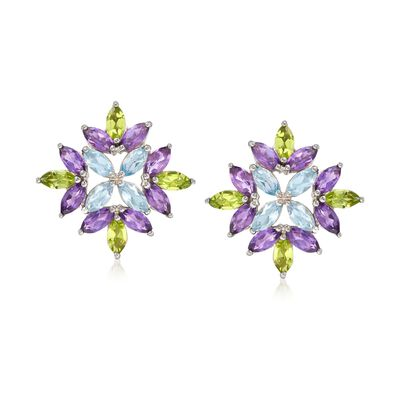 8.00 ct. t.w. Multi-Stone Starburst Earrings in Sterling Silver, , default