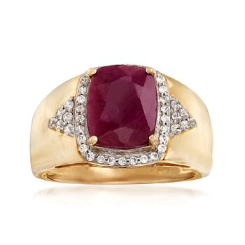 3.60 Carat Ruby and .30 ct. t.w. White Zircon Ring in 14kt Yellow Gold, , default
