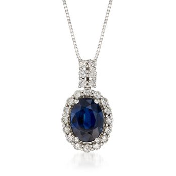 "1.30 Carat Sapphire and .26 ct. t.w. Diamond Pendant Necklace in 14kt White Gold. 18"", , default"