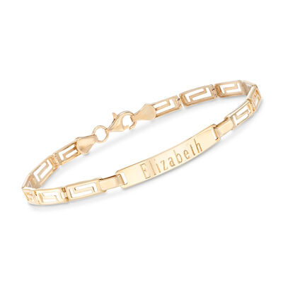 14kt Yellow Gold Personalized Greek Key Bar Bracelet, , default