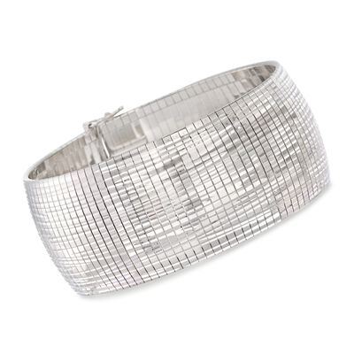 Italian Sterling Silver Diamond-Cut Omega Bracelet, , default