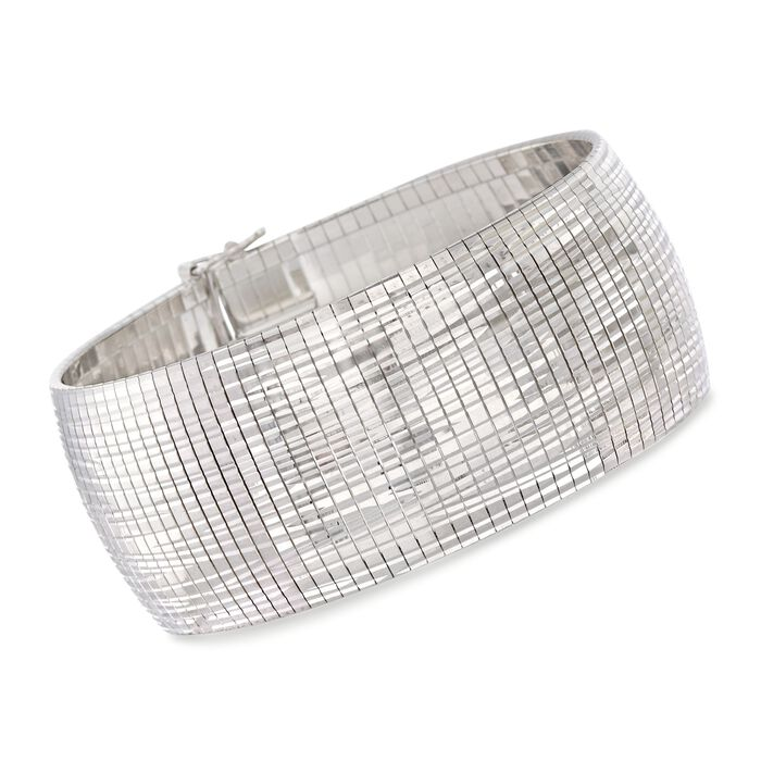 Italian Sterling Silver Diamond-Cut Omega Bracelet