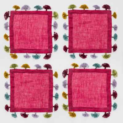 Joanna Buchanan Set of 4 Hot Pink Linen Tassel Cocktail Napkins, , default