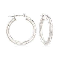 14kt White Gold Hoop Earrings , , default