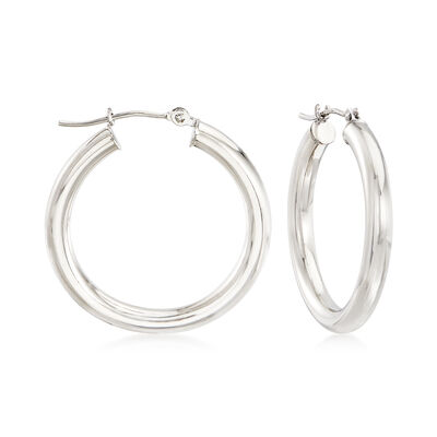 14kt White Gold Hoop Earrings , , default