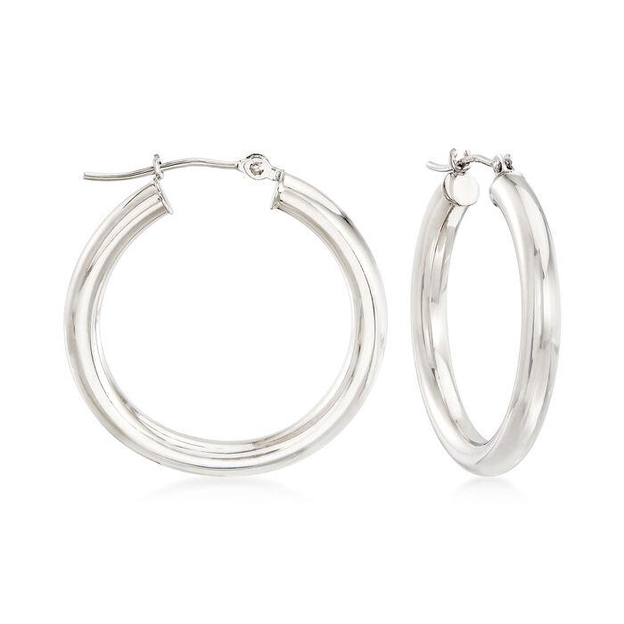 """14kt White Gold Hoop Earrings. 1""""., , default"""