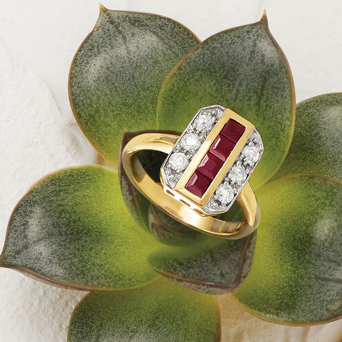 .80 ct. t.w. Ruby and .39 ct. t.w. Diamond Ring in 14kt Yellow Gold
