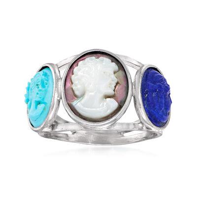 Italian Multi-Gemstone Cameo Ring in Sterling Silver
