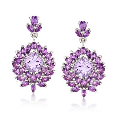 7.40 ct. t.w. Amethyst Drop Earrings in Sterling Silver, , default