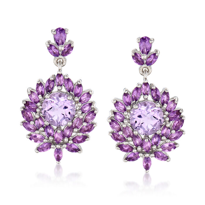 7.40 ct. t.w. Amethyst Drop Earrings in Sterling Silver