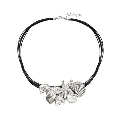 Sterling Silver and Black Leather Starfish and Seashells Necklace, , default