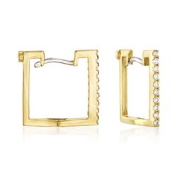 Roberto Coin .19 ct. t.w. Diamond Square Hoop Earrings in 18kt Yellow Gold, , default