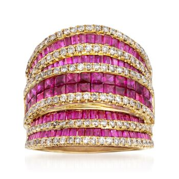 2.90 ct. t.w. Ruby and 1.00 ct. t.w. Diamond Ring in 18kt Yellow Gold, , default