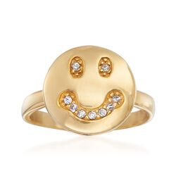 .10 ct. t.w. CZ Smiley Face Ring in 18kt Gold Over Sterling, , default