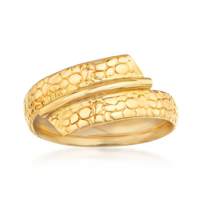 Italian 14kt Yellow Gold Printed Bypass Ring