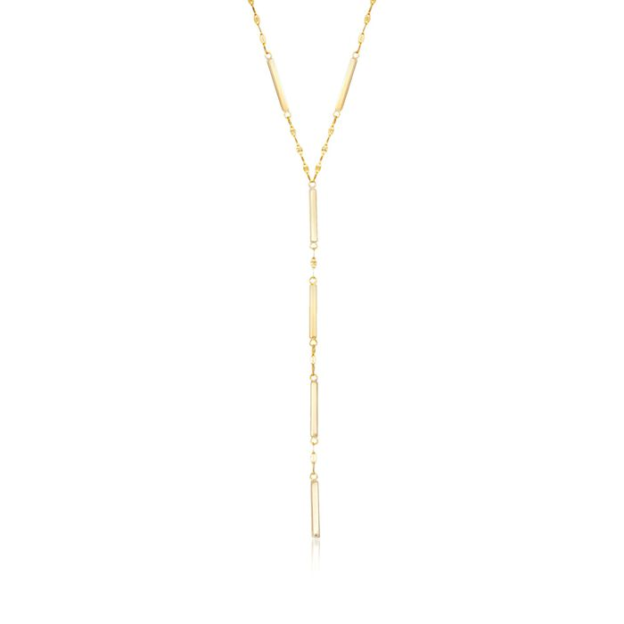 """14kt Yellow Gold Link and Bar Y-Necklace. 16"""", , default"""