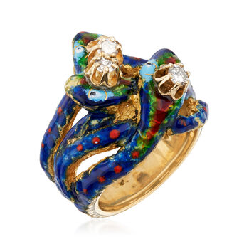 C. 1970 Vintage .25 ct. t.w. Diamond Snake Ring with Blue and Red Enamel in 14kt Yellow Gold. Size 5.5, , default