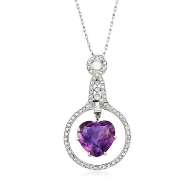 C. 1930 Vintage Cartier 8.40 Carat Amethyst, .80 ct. t.w. Diamond and 4mm Cultured Pearl Heart Necklace in Platinum, , default