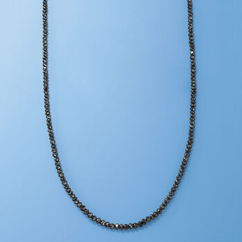 25.00 ct. t.w. Black Diamond Bead Necklace with 14kt White Gold, , default