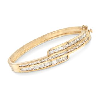 """C. 1990 Vintage 4.20 ct. t.w. Baguette and Round Diamond Bangle Bracelet in 14kt Yellow Gold. 7"""", , default"""