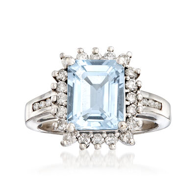 C. 1980 Vintage 2.60 Carat Aquamarine and .50 ct. t.w. Diamond Border Ring in 14kt White Gold, , default