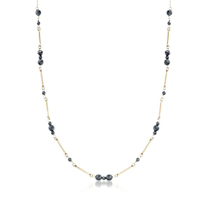3-5mm Black Onyx Station Necklace in 14kt Yellow Gold, , default