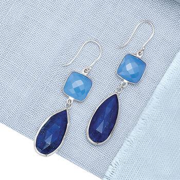 Teardrop Lapis and Cushion-Cut Blue Chalcedony Drop Earrings in Sterling Silver