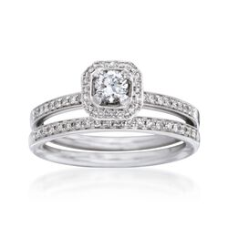 .45 ct. t.w. Diamond Bridal Set: Engagement and Wedding Rings in 14kt White Gold, , default
