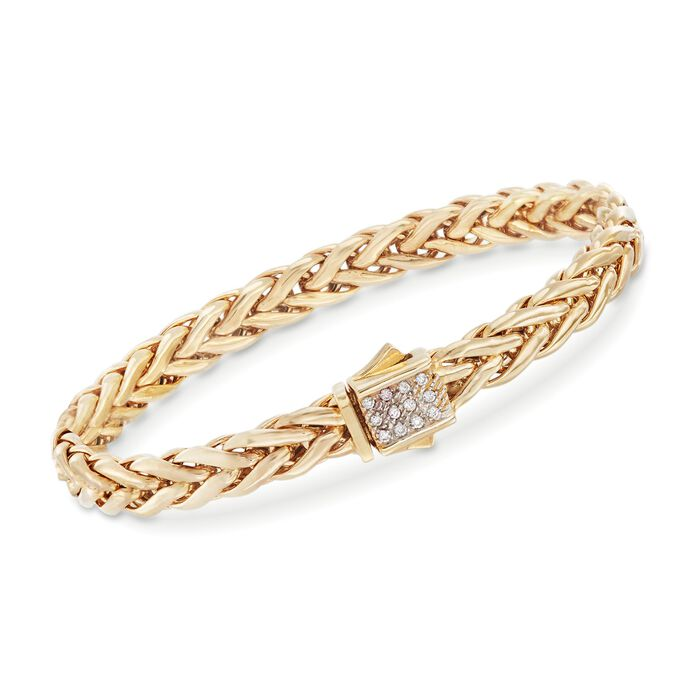 "Phillip Gavriel ""Woven Gold"" .12 ct. t.w. Pave Diamond Link Bracelet in 14kt Yellow Gold. 7.5"", , default"