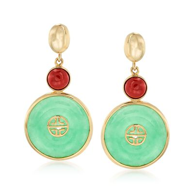 "Green and Red Jade Chinese ""Long Life"" Symbol Drop Earrings in 14kt Yellow Gold, , default"