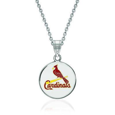 Sterling Silver MLB St. Louis Cardinals Enamel Disc Pendant Necklace. 18""