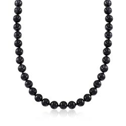 "Black Onyx Bead Necklace in 14kt Yellow Gold. 16"", , default"