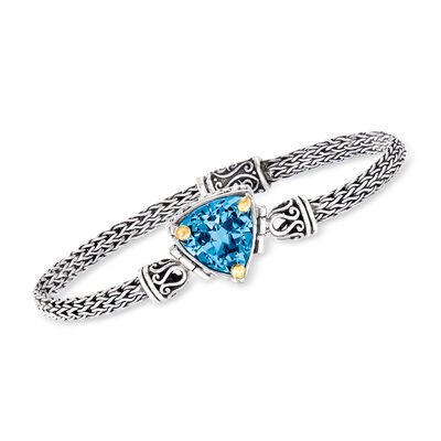12.00 Carat Sky Blue Topaz Bali-Style Bracelet in Sterling Silver with 18kt Yellow Gold, , default