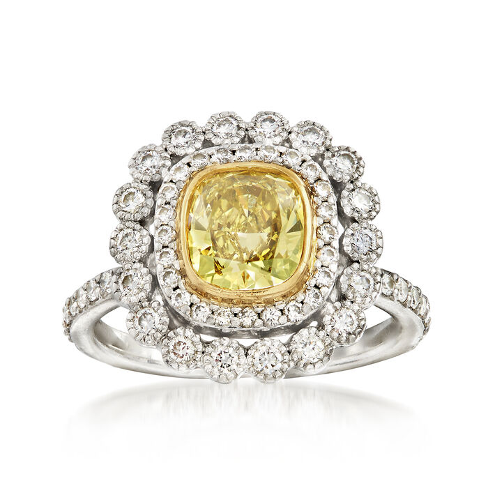 C. 2000 Vintage Tiffany Jewelry 1.75 ct. t.w. Yellow and White Diamond Ring in 18kt White Gold and Platinum. Size 4