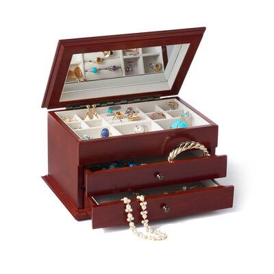 "Mele & Co. ""Brayden"" Burlwood and Walnut Finish Floral Inlay Jewelry Box, , default"
