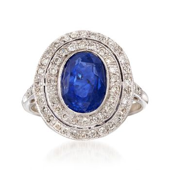 C. 1990 Vintage 3.50 Carat Sapphire and .60 ct. t.w. Diamond Double Halo Ring in 18kt White Gold. Size 6.75, , default