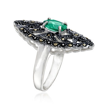 2.20 Carat Siberian Green Quartz and Swarovski Marcasite Ring in Sterling Silver, , default