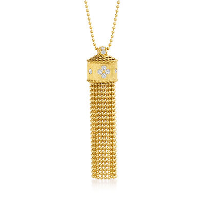 "Roberto Coin ""Princess Flower"" .18 ct. t.w. Diamond Tassel Necklace in 18kt Yellow Gold"