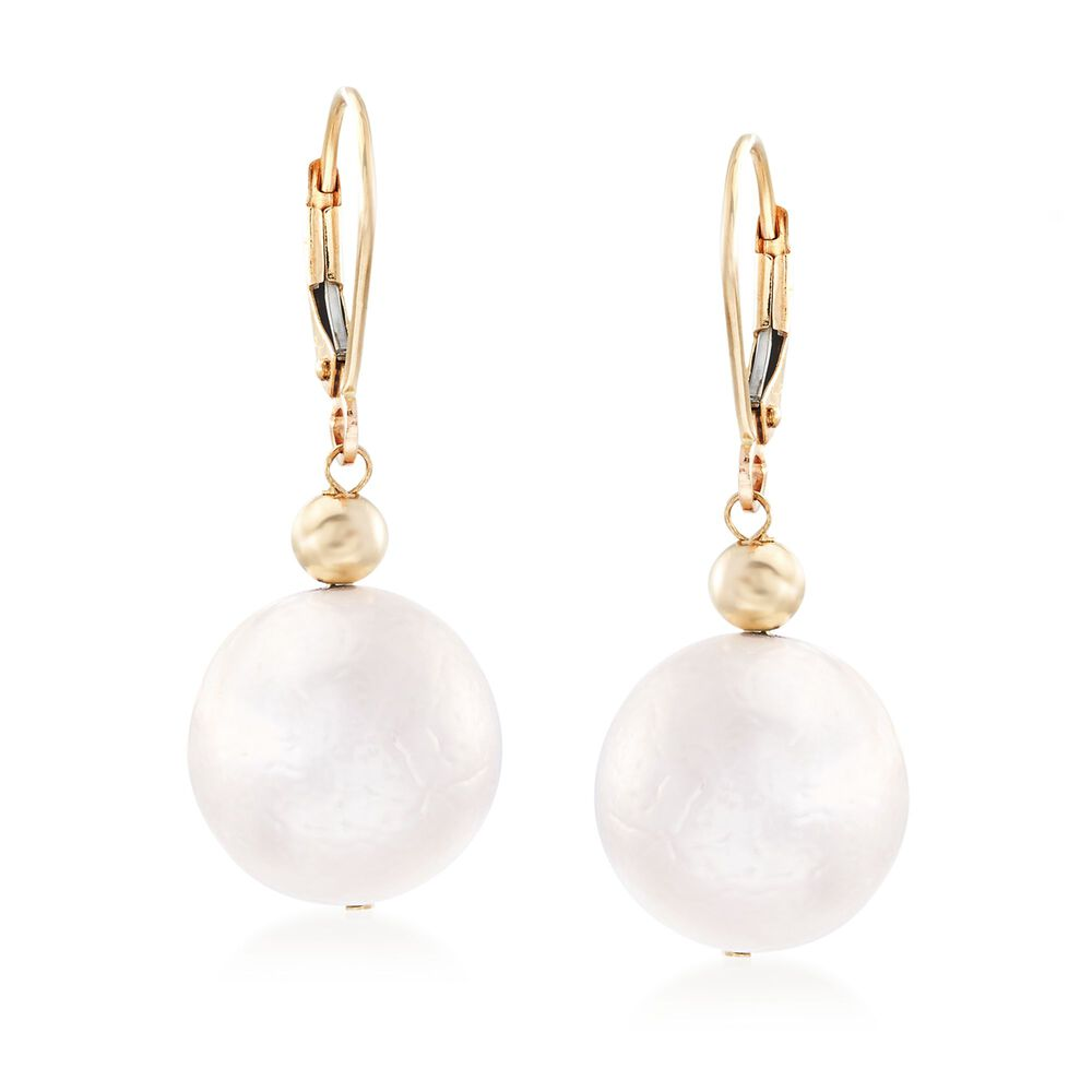 13 14mm Cultured Pearl Drop Earrings In 14kt Yellow Gold