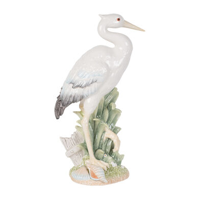 "Fitz and Floyd ""Newport Home"" Tall Egret Facing Forward Figurine, , default"