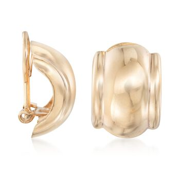 14kt Yellow Gold Curved Clip-On Earrings