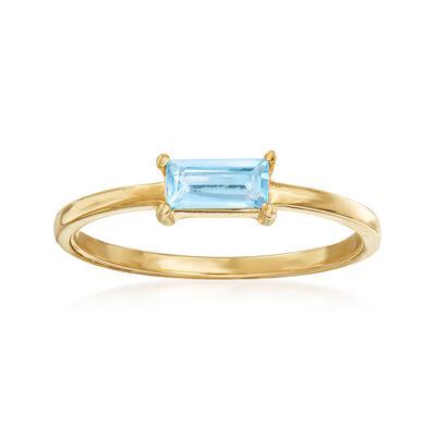Italian .30 Carat Sky Blue Topaz Ring in 14kt Yellow Gold